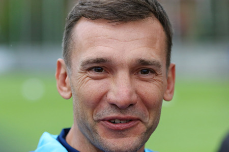 camping pitch: KYIV, UKRAINE - MAY 20, 2016: Coach assistant Andriy Shevchenko gives an interview during Open training session of Ukraine National Football Team before UEFA EURO 2016 Championship. Kyiv, Ukraine