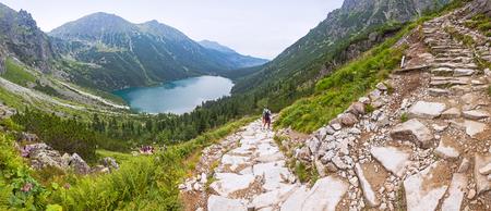 oko: Panoramic view of Morskie Oko lake, Tatra Mountains, Poland