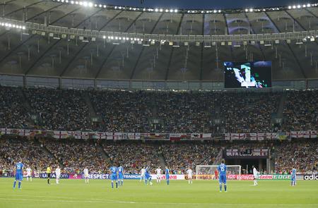 kickoff: KYIV, UKRAINE - JUNE 24, 2012: Olympic stadium in Kyiv before kick-off of the UEFA EURO 2012 Quarter-final game England vs Italy