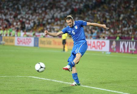 KYIV, UKRAINE - JUNE 24, 2012: Federico Balzaretti of Italy controls a ball during UEFA EURO 2012 Quarter-final game against England at Olympic stadium in Kyiv, Ukraine