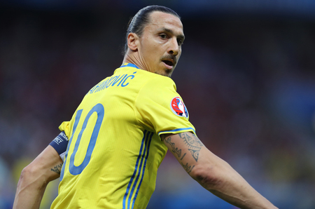 NICE, FRANCE - JUNE 22, 2016: Zlatan Ibrahimovic of Sweden in action during UEFA EURO 2016 game against Belgium at Allianz Riviera Stade de Nice, Nice, France. Belgium won 1-0