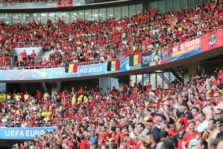 uefa: NICE, FRANCE - JUNE 22, 2016: Tribunes of Allianz Riviera Stade de Nice during UEFA EURO 2016 game Sweden v Belgium