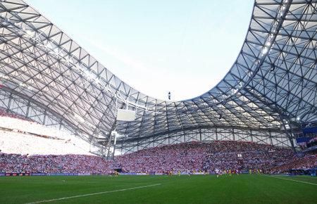 velodrome: MARSEILLE, FRANCE - JUNE 21, 2016: Panoramic view of Stade Velodrome stadium during the UEFA EURO 2016 game Ukraine v Poland