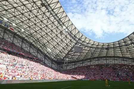 velodrome: MARSEILLE, FRANCE - JUNE 21, 2016: Panoramic view of Stade Velodrome stadium before the UEFA EURO 2016 game Ukraine v Poland Editorial