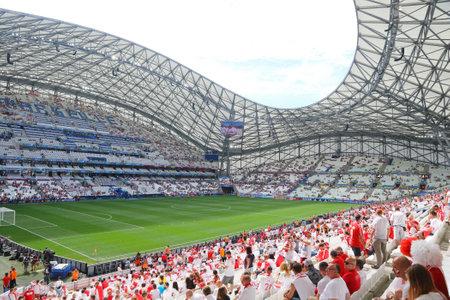 velodrome: MARSEILLE, FRANCE - JUNE 21, 2016: Tribunes of Stade Velodrome before the UEFA EURO 2016 game Ukraine v Poland