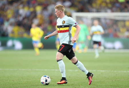 NICE, FRANCE - JUNE 22, 2016: Kevin De Bruyne of Belgium controls a ball during UEFA EURO 2016 game against Sweden at Allianz Riviera Stade de Nice, City of Nice, France. Belgium won 1-0 Editorial