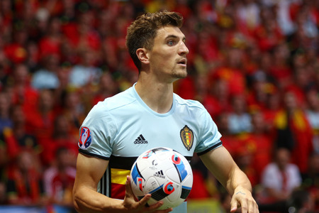 match head: NICE, FRANCE - JUNE 22, 2016: Thomas Meunier of Belgium throws in the ball during UEFA EURO 2016 game against Sweden at Allianz Riviera Stade de Nice, City of Nice, France. Belgium won 1-0 Editorial