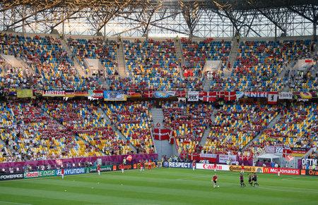 uefa: LVIV, UKRAINE - JUNE 17, 2012: Tribunes of Arena Lviv stadium during UEFA EURO 2012 game Germany vs Denmark Editorial