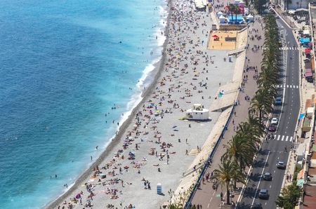 cote d'azure: Aerial panorama of beach in City of Nice, Cote dAzure, France. City of Nice is a famous and luxury resort of French riviera Stock Photo