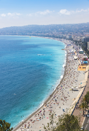 cote d'azure: Aerial panorama of beach in City of Nice in sunny summer day, Cote dAzure, France. City of Nice is a famous and luxury resort of French riviera Stock Photo