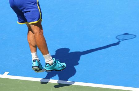 melzer: KYIV, UKRAINE - JULY 15, 2016: Illya MARCHENKO of Ukraine serves during BNP Paribas Davis Cup game against Gerald MELZER of Austria at Campa Bucha Tennis Club in Kyiv, Ukraine