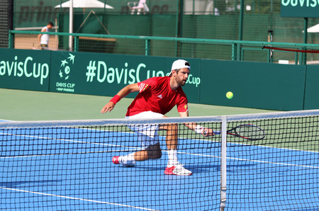 KYIV, UKRAINE - JULY 16, 2016: Jurgen MELZER of Austria in action during BNP Paribas Davis Cup EuropeAfrica Zone Group I pair game against Ukraine at Campa Bucha Tennis Club in Kyiv, Ukraine