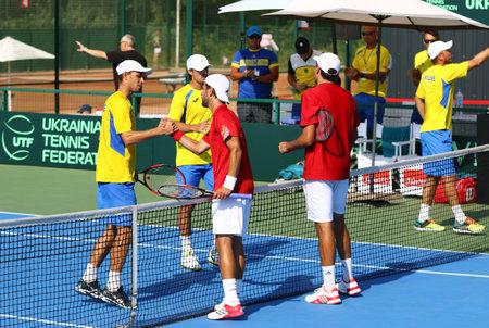 paribas: KYIV, UKRAINE - JULY 16, 2016: BNP Paribas Davis Cup EuropeAfrica Zone Group I pair game Ukraine v Austria at Campa Bucha Tennis Club in Kyiv, Ukraine