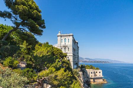 oceanographic: Building of Oceanographic Museum (French: Musee oceanographique) in Monaco-Ville, Monaco. Side view with Mediterranean sea