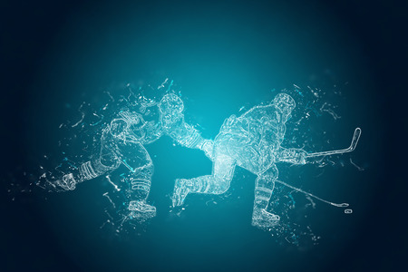 icehockey: Abstract Ice-Hockey players in action. Crystal ice effect Stock Photo