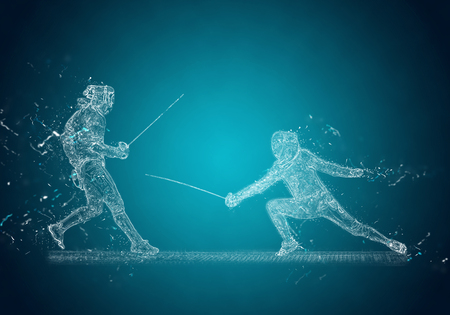 sabre: Abstract Sabre Fencers. Crystal ice effect Stock Photo