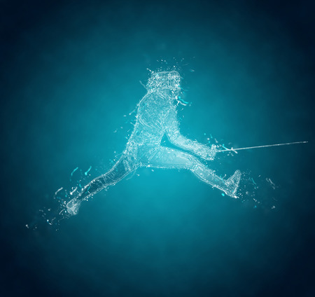 Abstract Sabre Fencer. Crystal ice effect
