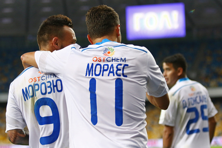 winning pitch: KYIV, UKRAINE - JULY 23, 2016: FC Dynamo Kyiv players react after scored a goal during Ukrainian Premier League game against FC Oleksandria at NSC Olympic stadium in Kyiv