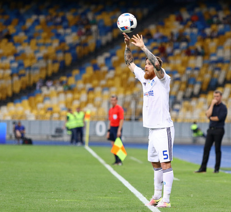 premier: KYIV, UKRAINE - JULY 23, 2016: Antunes of Dynamo Kyiv throws in the ball during Ukrainian Premier League game against FC Oleksandria at NSC Olympic stadium in Kyiv
