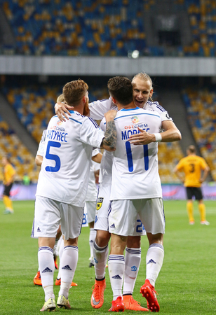 KYIV, UKRAINE - JULY 23, 2016: FC Dynamo Kyiv players react after scored a goal during Ukrainian Premier League game against FC Oleksandria at NSC Olympic stadium in Kyiv