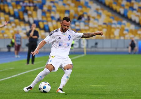 premier league: KYIV, UKRAINE - JULY 23, 2016: Mykola Moroziuk of Dynamo Kyiv controls the ball during Ukrainian Premier League game against FC Oleksandria at NSC Olympic stadium in Kyiv