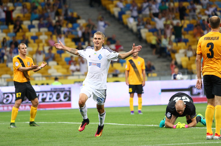 winning pitch: KYIV, UKRAINE - JULY 23, 2016: Vitaliy Buyalskiy of FC Dynamo Kyiv reacts after scored a goal during Ukrainian Premier League game against FC Oleksandria at NSC Olympic stadium in Kyiv