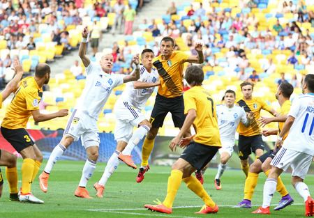 premier league: KYIV, UKRAINE - JULY 23, 2016: FC Dynamo Kyiv (in White) and FC Oleksandria players fight for a ball during their Ukrainian Premier League game at NSC Olympic stadium in Kyiv