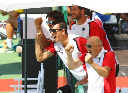 paribas: KYIV, UKRAINE - JULY 15, 2016: Players of Austria National Team during the BNP Paribas Davis Cup EuropeAfrica Zone Group I game Ukraine v Austria at Campa Bucha Tennis Club in Kyiv, Ukraine