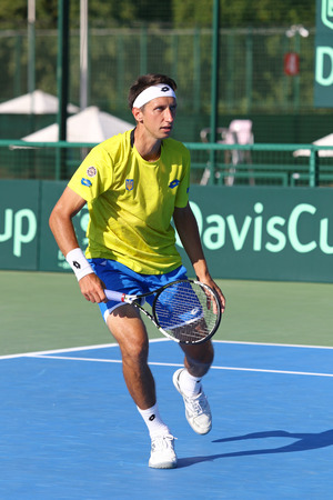 melzer: KYIV, UKRAINE - JULY 15, 2016: Sergiy STAKHOVSKY of Ukraine in action during BNP Paribas Davis Cup EuropeAfrica Zone Group I game against Gerald MELZER of Austria at Campa Bucha Tennis Club in Kyiv