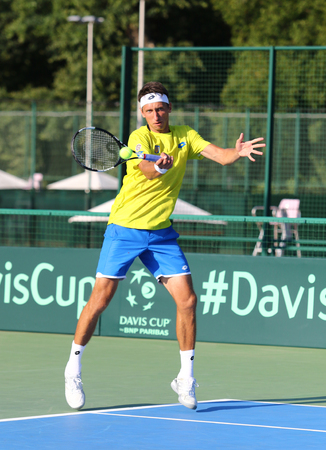 atp: KYIV, UKRAINE - JULY 15, 2016: Sergiy STAKHOVSKY of Ukraine in action during BNP Paribas Davis Cup EuropeAfrica Zone Group I game against Gerald MELZER of Austria at Campa Bucha Tennis Club in Kyiv