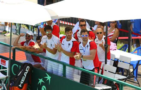 melzer: KYIV, UKRAINE - JULY 15, 2016: Players of Austria National Team during the BNP Paribas Davis Cup EuropeAfrica Zone Group I game Ukraine v Austria at Campa Bucha Tennis Club in Kyiv, Ukraine