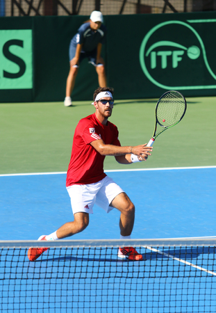 melzer: KYIV, UKRAINE - JULY 15, 2016: Gerald MELZER of Austria in action during BNP Paribas Davis Cup EuropeAfrica Zone Group I game against Sergiy STAKHOVSKY of Ukraine at Campa Bucha Tennis Club in Kyiv