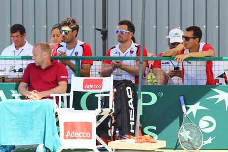 KYIV, UKRAINE - JULY 15, 2016: Players and Captain of Austria National Team during the BNP Paribas Davis Cup EuropeAfrica Zone Group I game Ukraine v Austria at Campa Bucha Tennis Club in Kyiv Editorial