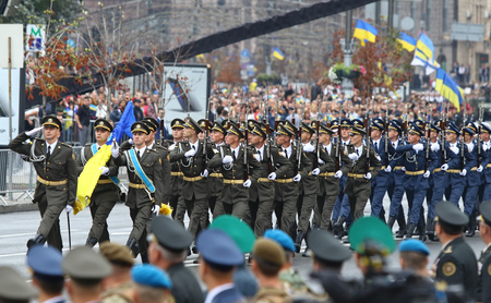 KYIV, UKRAINE - AUGUST 24, 2016: Soldiers of the Regiment of the President of Ukraine during military parade in Kyiv, dedicated to the Independence Day of Ukraine