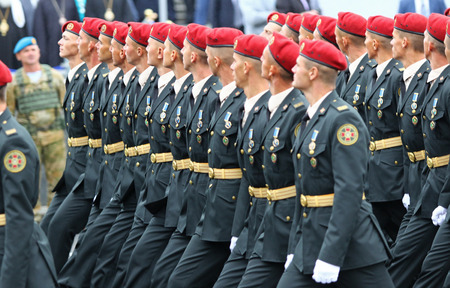 KYIV, UKRAINE - AUGUST 24, 2016: Ukrainian servicemen take part in a military parade in Kyiv, dedicated to the Independence Day of Ukraine. Ukraine celebrates 25th anniversary of Independence