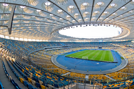 olympic stadium: KYIV, UKRAINE - JULY 23, 2016: Panoramic view of NSC Olympic stadium (NSC Olimpiyskyi) during Ukrainian Premier League game FC Dynamo Kyiv vs FC Oleksandria