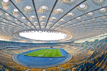 KYIV, UKRAINE - JULY 23, 2016: Panoramic view of NSC Olympic stadium (NSC Olimpiyskyi) during Ukrainian Premier League game FC Dynamo Kyiv vs FC Oleksandria