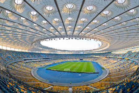 olympic game: KYIV, UKRAINE - JULY 23, 2016: Panoramic view of NSC Olympic stadium (NSC Olimpiyskyi) during Ukrainian Premier League game FC Dynamo Kyiv vs FC Oleksandria