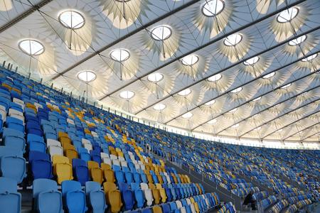 KYIV, UKRAINE - JULY 23, 2016: Tribunes of NSC Olympic stadium (NSC Olimpiyskyi) during Ukrainian Premier League game FC Dynamo Kyiv vs FC Oleksandria Editorial