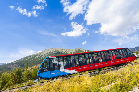 HIGH TATRAS, SLOVAKIA - AUGUST 28, 2015: Cable railway from Stary Smokovec to Hrebienok (1,285m). Hrebienok is a popular tourist destination and a starting point for many tourist trails in High Tatras Editorial