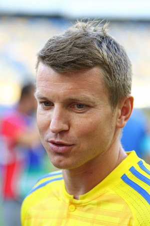 world player: KYIV, UKRAINE - AUGUST 29, 2016: Portrait of player Ruslan Rotan during Open training session of Ukraine National Football Team before FIFA World Cup 2018 Qualifying matches. NSC Olympic stadium, Kyiv Editorial