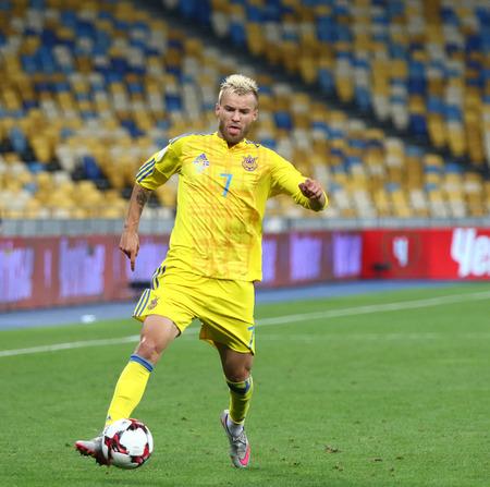 KYIV, UKRAINE - SEPTEMBER 5, 2016: Andriy Yarmolenko of Ukraine controls a ball during FIFA World Cup 2018 qualifying game against Iceland at NSC Olympic stadium in Kyiv, Ukraine