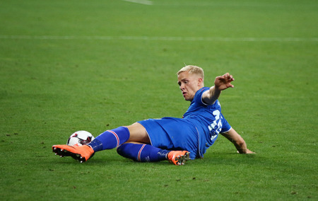 KYIV, UKRAINE - SEPTEMBER 5, 2016: Hordur Magnusson of Iceland in action during FIFA World Cup 2018 qualifying game against Ukraine at NSC Olympic stadium in Kyiv, Ukraine Editorial