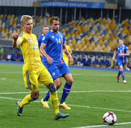 midfielder: KYIV, UKRAINE - SEPTEMBER 5, 2016: Olexandr Zinchenko of Ukraine controls a ball during FIFA World Cup 2018 qualifying game against Iceland at NSC Olympic stadium in Kyiv, Ukraine