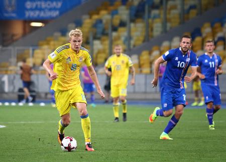 midfielder: KYIV, UKRAINE - SEPTEMBER 5, 2016: Viktor Kovalenko of Ukraine controls a ball during FIFA World Cup 2018 qualifying game against Iceland at NSC Olympic stadium in Kyiv, Ukraine Editorial