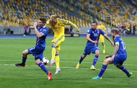 KYIV, UKRAINE - SEPTEMBER 5, 2016: Andriy Yarmolenko of Ukraine (in Yellow) scores a goal during FIFA World Cup 2018 qualifying game against Iceland at NSC Olympic stadium in Kyiv, Ukraine