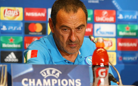 Napoli: KYIV, UKRAINE - SEPTEMBER 12, 2016: SSC Napoli manager Maurizio Sarri attends press-conference before UEFA Champions League game against FC Dynamo Kyiv at NSC Olympic stadium in Kyiv, Ukraine