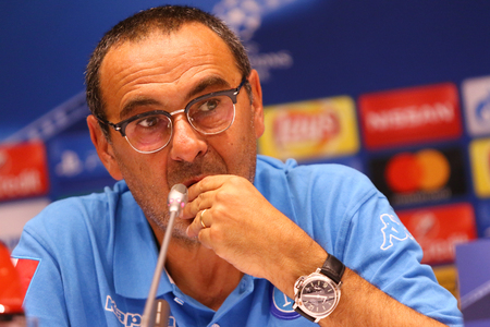 KYIV, UKRAINE - SEPTEMBER 12, 2016: SSC Napoli manager Maurizio Sarri attends press-conference before UEFA Champions League game against FC Dynamo Kyiv at NSC Olympic stadium in Kyiv, Ukraine