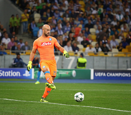 pepe: KYIV, UKRAINE - SEPTEMBER 13, 2016: Goalkeeper Pepe Reina of SSC Napoli in action during UEFA Champions League game against FC Dynamo Kyiv at NSC Olympic stadium in Kyiv, Ukraine