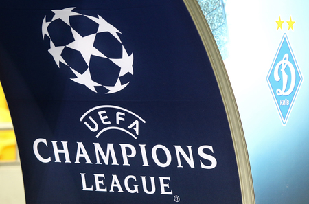 uefa: KYIV, UKRAINE - SEPTEMBER 13, 2016: Official UEFA Champions League logo on the decoration board during UEFA Champions League game FC Dynamo Kyiv vs SSC Napoli at NSC Olympic stadium in Kyiv, Ukraine Editorial
